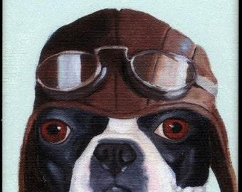 Boston terrier gift, Boston Terrier Pilot cute dog art magnet, Pilot gift