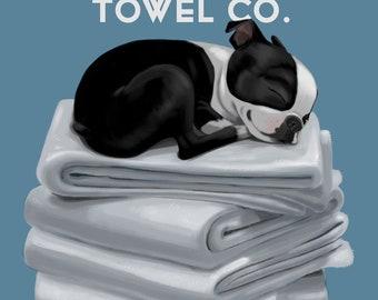 Boston Bath Towel, Boston Terrier gifts, Boston Terrier lovers, boston terrier art print, wall decor, laundry room art print