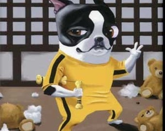 Kung Fu Game of Death - Boston Terrier dog art