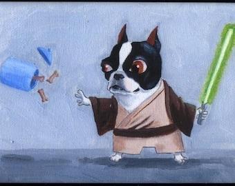 Boston terrier gift, boston terrier art magnet, Boston Terrier Jedi magnet, Star wars gift, star wars art