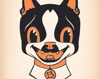 Boston Terrier print, halloween vintage, Dog art print