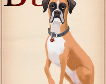 Boxer flash card print, Boxer gifts, boxer lovers, boxer art print wall decor, boxer dog lover home decor