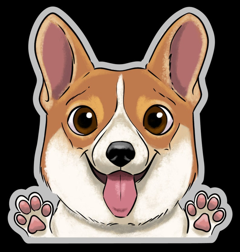 Corgi clear vinyl stickers Corgi stickers Corgi gift dog image 0