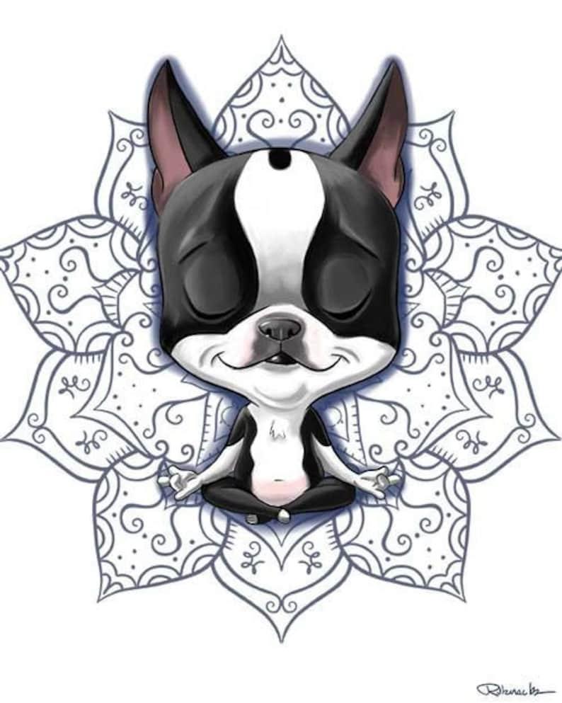 Boston Terrier meditating Boston Terrier giftBoston Terrier image 0