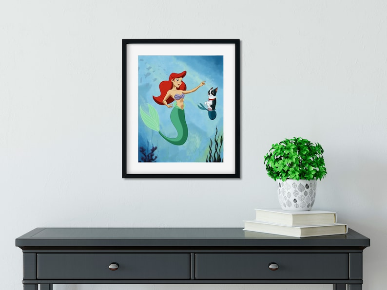 The Little Mermaid with her Boston Terrier Boston terrier image 0