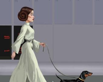 Princess Leia walking a Dachshund, Dachshund gift, Dachshund art print, Star wars art, wall decor blak and tan dachshund, dor art