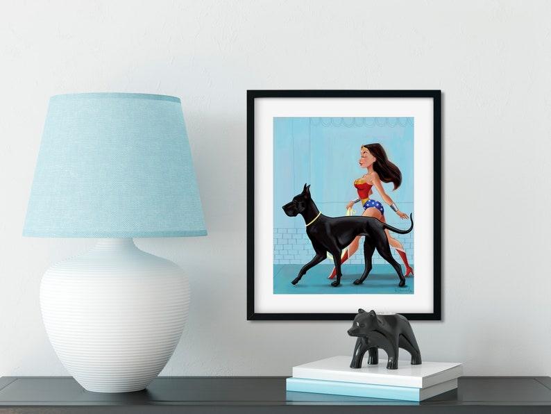 Wonder Woman walking a Great Dane print Great Dane gift image 0