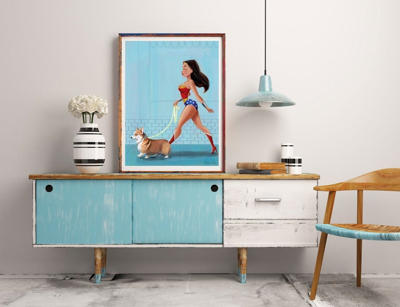 Wonder Woman walking a Corgi Corgi gift dog walking gift image 0