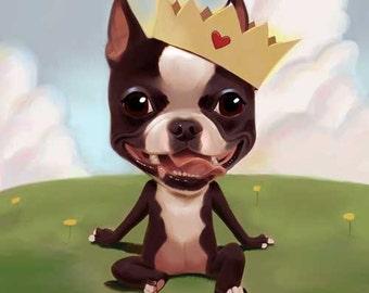 Boston terrier wearing a crown, Boston terrier gift, boston terrier art, boston terrier lover, boston terrier decor, wall decor