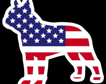 Boston terrier vinyl sticker, boston terrier stickers, boston terrier gift, dog stickers,car stickers, 3 inch, boston terrier american flag