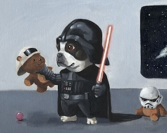 The Ultimate Boston Terrier Star Wars Dog Art Print Set, Boston terrier gift, dog art gift, star wars gift, star wars art,boston terrier art