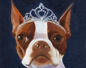 101 Boston Terriers wearing hats series number 20 dog art PRINT