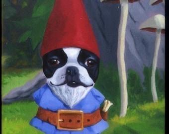 Boston terrier Gnome magnet, Boston Terrier dog art magnet, boston terrier gift, Boston terrier art