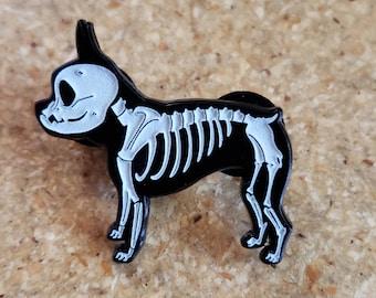 Boston terrier gift, boston terrier pin, glow in the dark skeleton, Halloween pin, boston terrier Halloween, soft enamel pin, Halloween gift