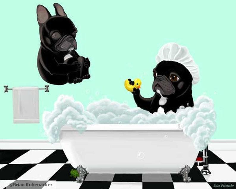 French bulldog gift wall art Bath Time  French Bulldog image 0