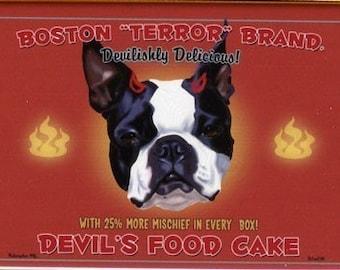 Boston Terrier Devil's Food Cake Magnet