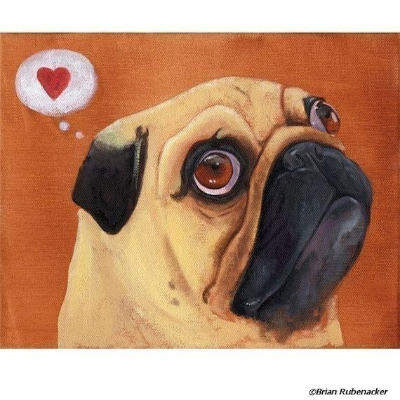 Dog lover Unique wall decor Pug Love Pug gift Pug Art Print Art Print on Paper Pug Love- Art Print on Paper Wall Art Print