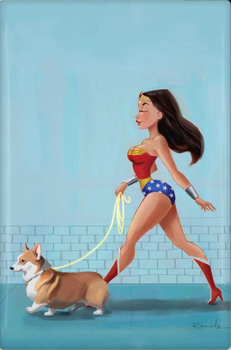 Corgi art gift Corgi magnet Wonder Woman walking a corgi image 0