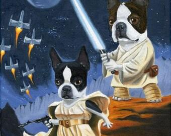 Luke and Leia Terrier - Boston Terrier dog art print, Boston terrier gift, star wars gift