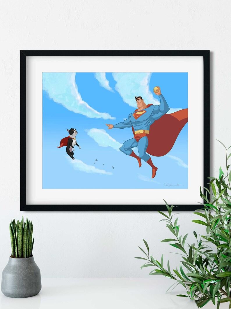 Superman with a boston terrier Boston terrier gift boston image 0