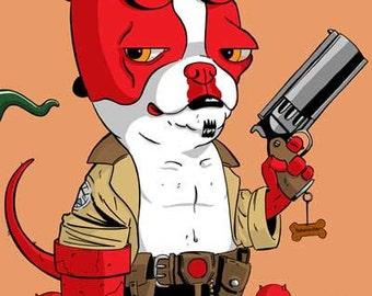 Boston Terrier Hellboy Dog Art Magnet, Boston terrier gift, Boston terrier comic art, Boston terrier decor, hellboy art