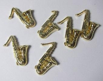 Shiny Gold Saxophone Novelty Flatback Cabochons