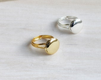 Tiny locket ring in gold or silver on adjustable size band