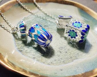 Peacock blue enamel and silver filigree bottle scent locket aromatherapy prayer box ornate necklace