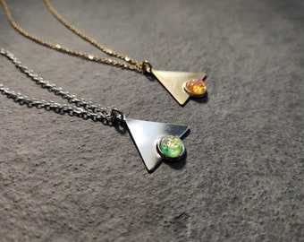 Gold tone brass or silver plated simple triangle necklace with vintage glass harlequin opal in grass green or fiery pink