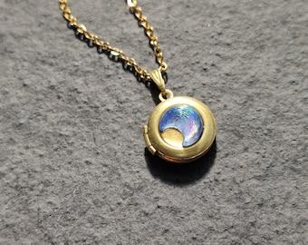 Crescent moon tiny vintage gold locket necklace - the Moonlight Traveller