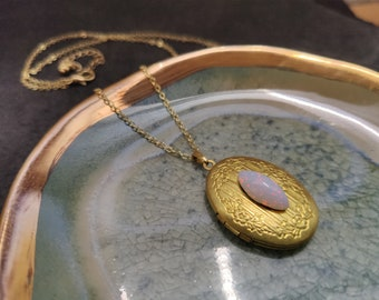 Vintage glass opal woodland locket necklace in golden brass on 16k gold chain
