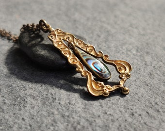 Antique early 1900's Art Nouveau Tear of Demeter pendant necklace with raised ornate pattern and abalone shell