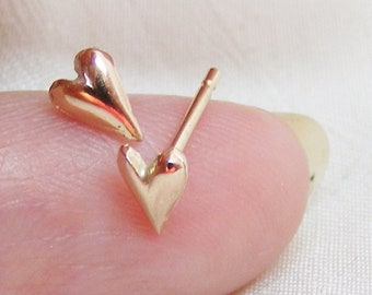 Rose Gold Tiny heart studs, 9ct childrens rose gold studs