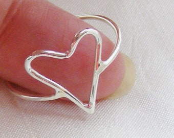 Size Q silver heart ring, size 8 handmade skinny heart ring
