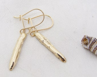 Recycled 9ct gold flake drop earrings, hallmarked textured gold drop earrings
