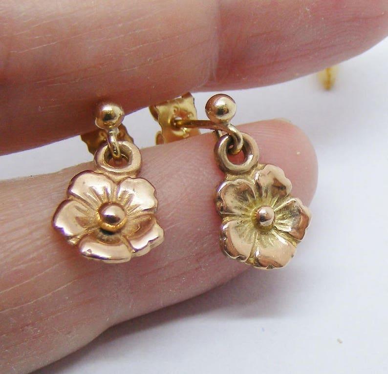 f9a2e70de Flower earrings dangle 9ct rose gold flower drop earrings | Etsy