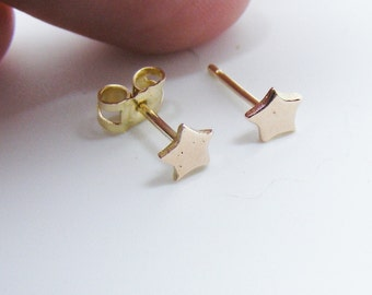 9ct Rose Gold Tiny Star Stud Earrings Designer - tiny rose gold earrings, star studs