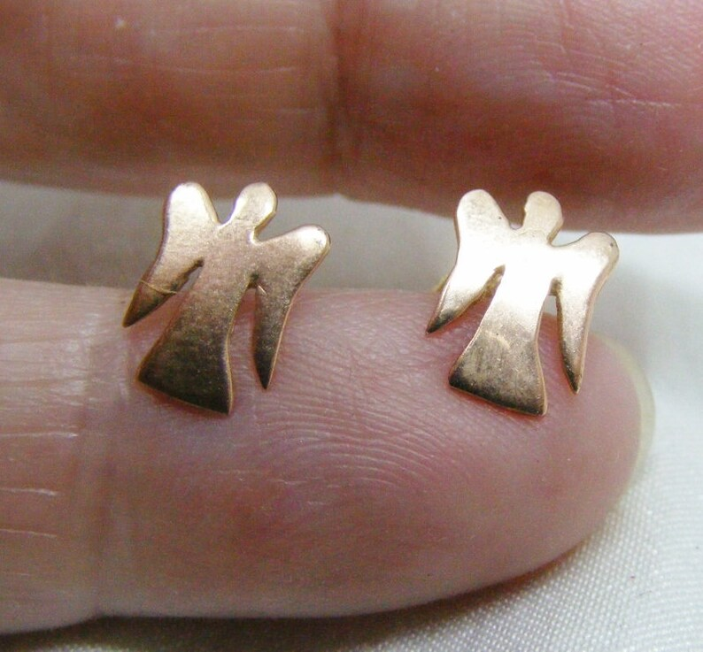 7b504e143 9carat rose gold tiny angel stud earrings angel studs rose | Etsy