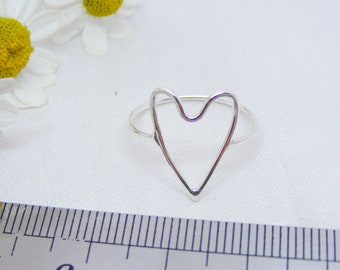 Size Q 1/2 silver heart ring, size 8 1/4 handmade skinny heart ring
