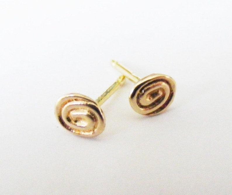 55cc33185 9carat Rose Gold Tiny Swirl Stud Earrings Designer Handmade | Etsy