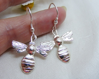 23mm Silver Bee dangle earrings, Hallmarked Silver Bee jewellery