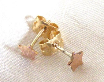 Tiny rose gold star studs, tiny star earrings