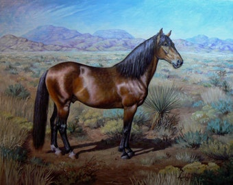 12x16 Custom Horse Portrait in landscape equine oil painting. Heirloom quality original art by Kerry Nelson