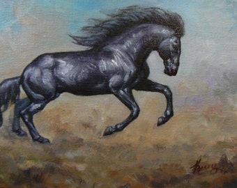 DARK horse wild black horses fine equine art 4x6 original framed oil painting OSWOA SFA by Kerry