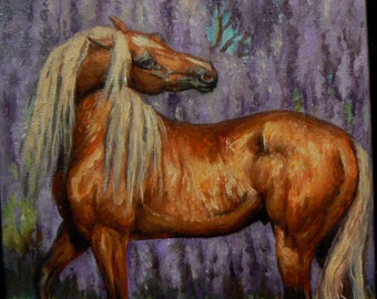 Dripping Wisteria silver colt horses portrait fine equine art 4x6 original framed oil painting OSWOA SFA by Kerry