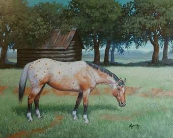 Appaloosa HORSE barn original equine art oil 12x16 painting by Kerry Nelson