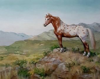 WILD HORSE original appaloosa stallion equine animal ooak art oil 12x16 painting by Kerry Nelson