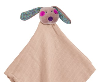 Take Along Muslin Lovie Dog, Mouse, Lamb, Cat, Made in France and Embroidered and Personalized by Initial Impressions