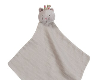 Take Along Muslin Lovie Cat, Lamb, Mouse, Dog,  Made in France and Embroidered and Personalized by Initial Impressions