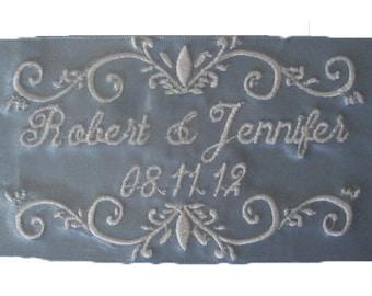 Diamond White Jennifer  Satin Ribbon Wedding Embroidered Personalized Gown Label